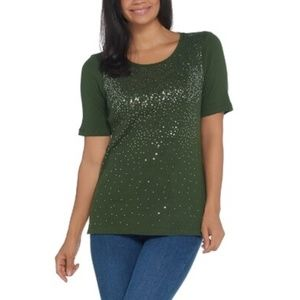 Quacker Factory Elbow-Sleeve Metallic Sequin Scoop
